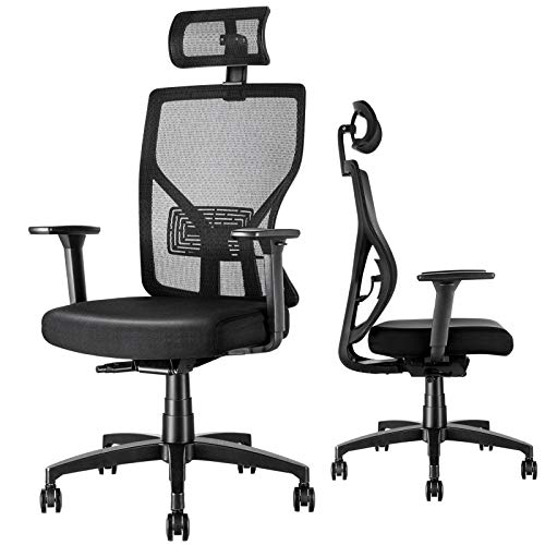 MOLENTS Office Desk Chair Ergonomic Task Chair Breathable Mesh, Adjustable Lumbar Support/Headrest/3D Armrest/Seat Height& Seat Depth, Executive, Drafting, Gaming Computer Home or Office Rolling Chair