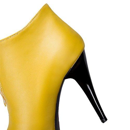 AllhqFashion Damen PU Reißverschluss Spitz Zehe Hoher Absatz Rein Stiefel Gelb