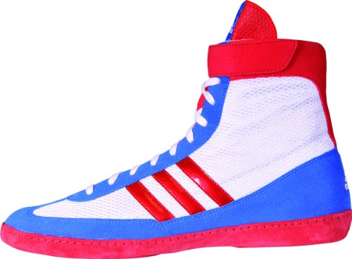 Adidas Wrestling Mens Combat Speed 4 Wrestling Shoe Running Bianco / Rosso Vivo / Blu Bellezza