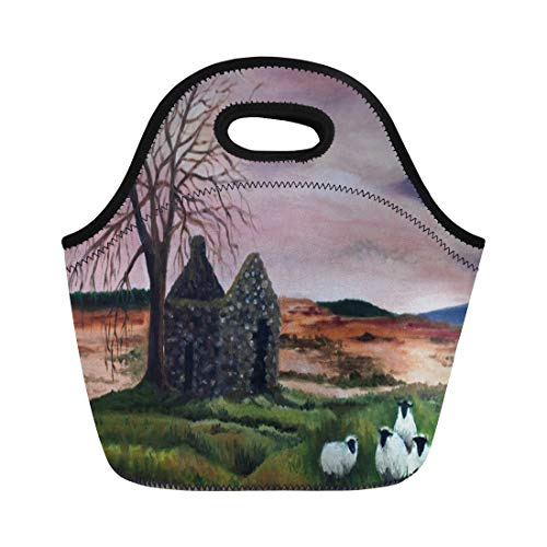Ablitt Lunch Bags Landscape Sheep on Parkmore County Painting Ireland neoprene lunch bag lunchbox tote bag portable picnic bag cooler bag