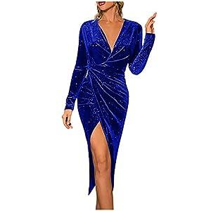 Celucke Women Dresses Elegant, Long Sleeve Deep V Neck Asymmetrical Party Dresses Stretchy Dresses Cocktail Clubwear
