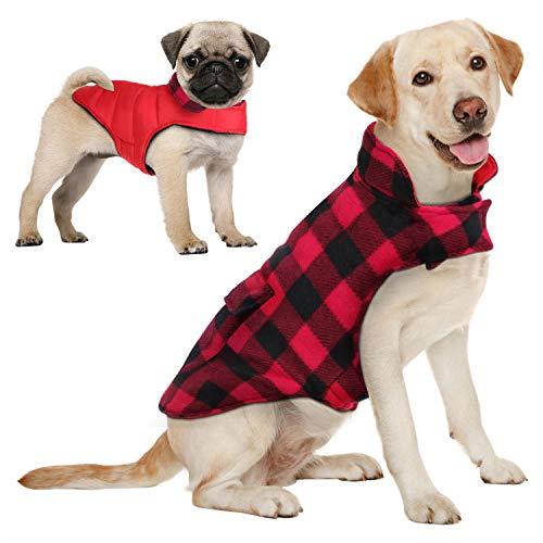 AOFITEE Reversible Dog Cold Weather Coat, Waterproof British Style Plaid Winter Pet Jacket, Warm Cotton Lined Vest…