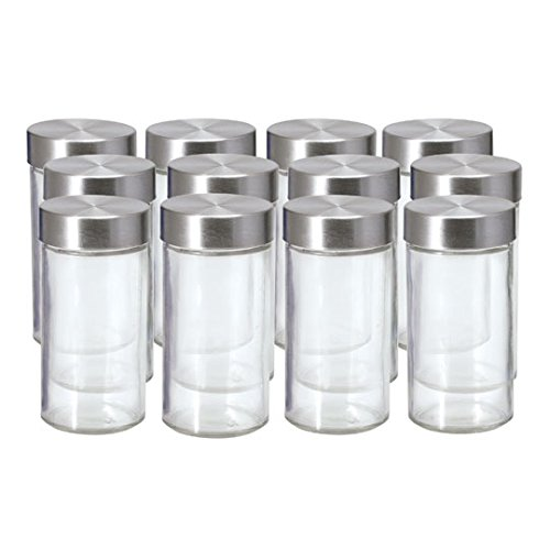 Kamenstein Set of 12 Glass Spice Jars (Set of 12, with Stainless Steel Caps)