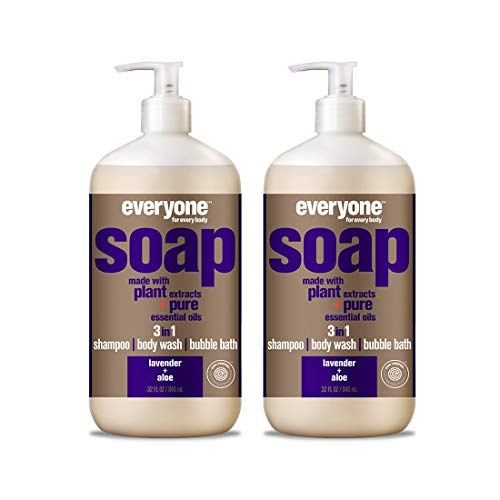 Everyone 3-in-1 Soap - Body Wash, Shampoo, and Bubble Bath - Lavender + Aloe, 32 Ounces, 2 Count (Best Long Lasting Body Wash)