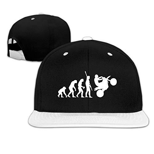 RCH-970 Human Evolution Motorcycle Car1 Men/Women Fashion Adjustable Baseball Cap Snapback Unisex Hat White ()