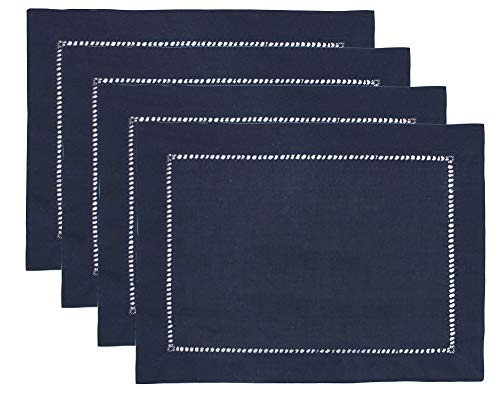 Fennco Styles Stylish Solid Color with Hemstitched Border Table Placemat - Set of 4 (Navy Blue, 13