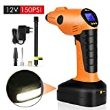 Amzdeal Air Compressor Portable Auto Pump Cordless Tire Inflator 12V 150PSI,60L/min,with LED Lights and Digital Display,Built-in Power Bank, Wireless Tire Pump for Cars, Bikes, Motorcycles,Balls