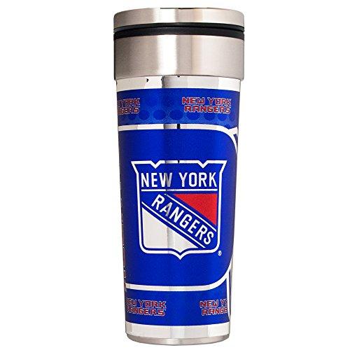 NHL New York Rangers Travel Tumbler with Metallic Graphics, 22-Ounce, Silver (New York Rangers Tumbler)