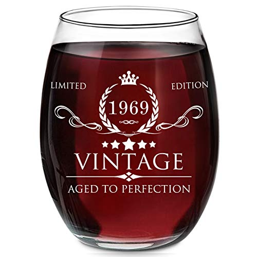1969 50th Birthday Gifts for Women and Men Wine Glass - Vintage Funny Anniversary Gift Ideas for Mom, Dad, Husband, Wife - 50 Years Gifts, Party Favors, Decorations for Him or Her - 15oz