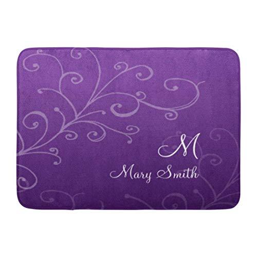 - Custom Doormats Swirl Monogram Purple Home Door Mats 15.7