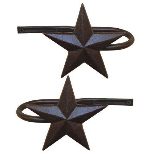 Western Curtain Tie Backs - LL Home Metal Star Curtain Holdbacks, Set of 2