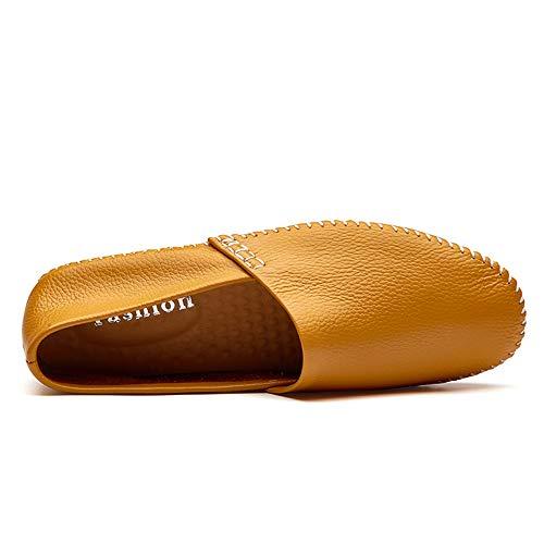 Scarpe Mocassini pedale pelle Men's Casual Flat Slip Flat barca Giallo Drive Dimensione EU Color a in 45 da Ofgcfbvxd Giallo Mocassini On 60fxYfn