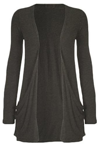 Hot Hanger Ladies Plus Size Pocket Long Sleeve Cardigan 16-26 – Medium – 6-8, Charcoal Grey