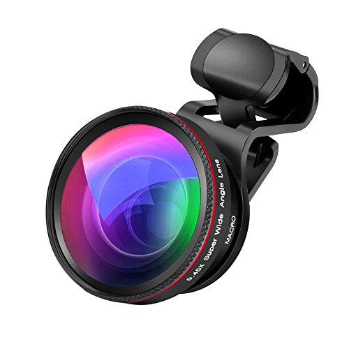 O-CONN Phone Camera Lens, 2 in 1 Clip-On Lens Kit 0.45X Super Wide Angle Lens & 12.5X Macro Lens for iPhone, Samsung, Android and Other Smartphones (Black)