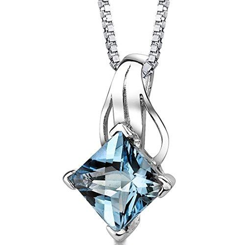(Swiss Blue Topaz Princess Cut Pendant Necklace Sterling Silver Rhodium Nickel Finish 3.00 Carats)
