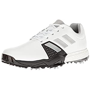 adidas Men's Adipower Boost 3 Golf Shoe, White/Silver Metallic/Black, 11.5 M US