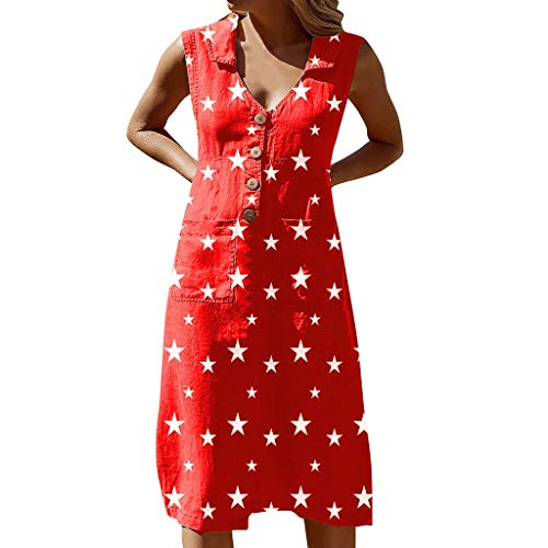 Women's Summer Casual Sleeveless Dresses Classic Star Print Lapel V Neck Button Down Vintage Dress with 2 Pockets Red ()