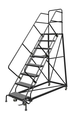 Tri-Arc KDEC108246 8-Step Forward Descent Safety Angle Steel Rolling Industrial and Warehouse Ladder with Perforated Tread, 24-Inch Wide Steps