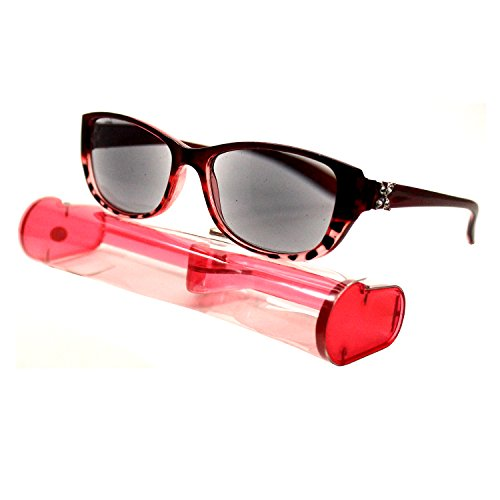 (#BRSR24-Red) New Fashion Designer Women Sun Readers Sunglasses Reading Glasses ALL-IN-ONE Free Carry Case (Strength: - Sunglasses Discount Student