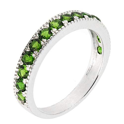 (BL Jewelry Sterling Silver Round Genuine Natural Gemstone Stackable Half Eternity Band Ring (8, Chrome-Diopside) )