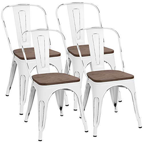 Furmax Metal Dining Chair Indoor-Outdoor Use Stackable Chic Dining Bistro Cafe Side Metal Chairs (White)