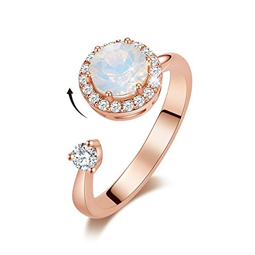 CDE Birthstone Rings for Women Rose Gold Plated