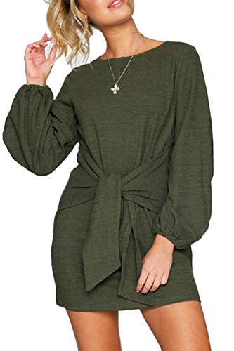 Almaree Womens Long Sleeve Tie Waist Mini Dress Ribbed T-Shirt Dresses Green S