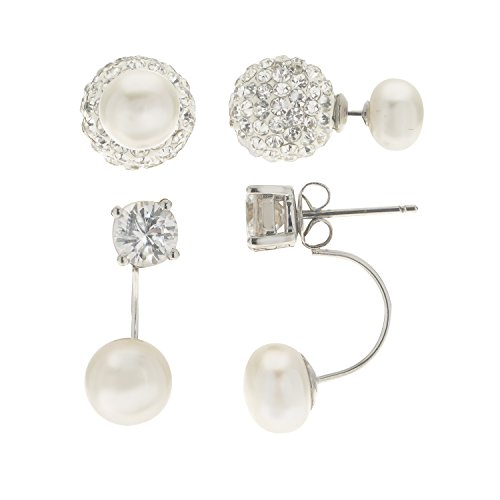 PearLustre by Imperial: Sterling Silver, White Freshwater Cultured Pearl Fashion Forward Front-Back Earrings Set with Cubic Zirconia and Clay Crystal accents