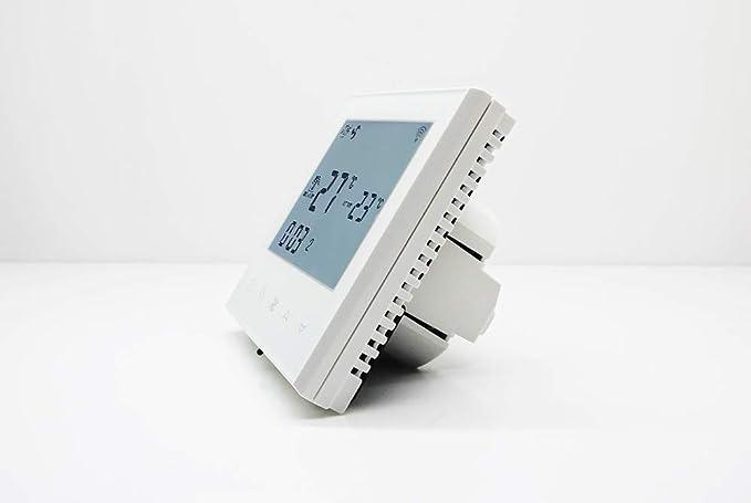 Beok TDS21WIFI-AC2-WW - Bobina de ventilador termostato con pantalla táctil para control de temperatura de habitación para aire acondicionado central, ...