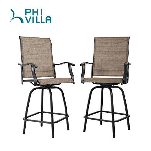 PHI VILLA Swivel Bar Stools All-Weather Patio Furniture, Set of 2 (Stools And Bar Bar Set)