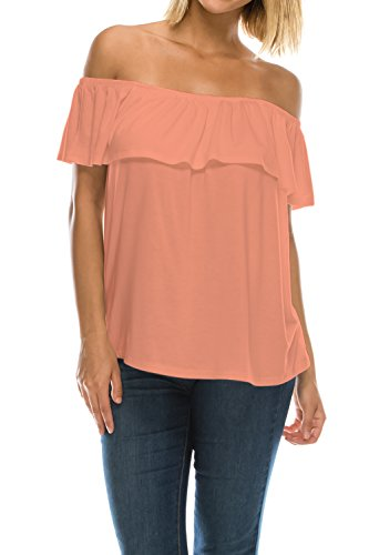Womens On or Off Shoulder Ruffle Neck Flowy Blouse Top Made in USA-Peach,X-Large