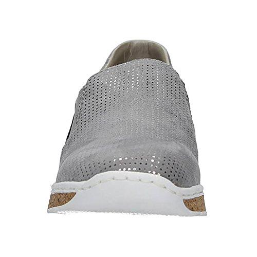 Rieker Damen-Slipper Grau 942168-9 Grau-silber ICIC6E4h6