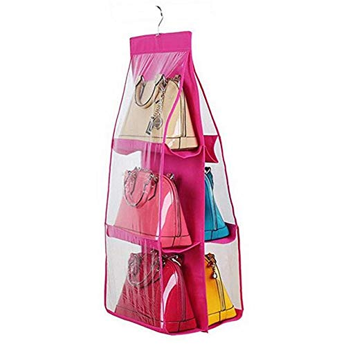 Santwo 6 Pocket Handbag Anti-dust Cover Clear Hanging Closet Bags Organizer Purse Holder Collection Shoes Save -