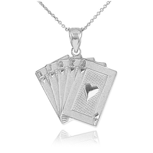 Men's Fine Jewelry Solid 925 Sterling Silver Royal Flush of Hearts Poker Pendant Necklace, 18
