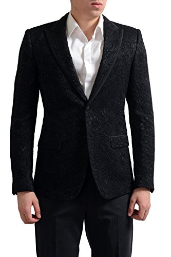Dolce & Gabbana Tailored Men's Black Floral Print Sport Coat Blazer US 38 IT (Dolce & Gabbana Print Coat)