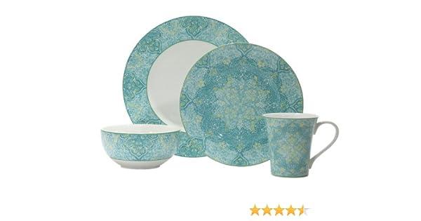 Amazon.com | 222 Fifth Eva Teal 16-Piece Dinnerware Set: Dinnerware ...