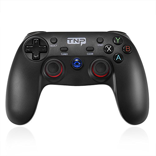 TNP Bluetooth Wireless Game Controller Gamepad for Android Smartphone Tablet VR TV BOX, Windows PC Steam OS, PS3 PlayStation 3 - Supports XInput DirectInput DInput Mode, Shock Vibration Feedback