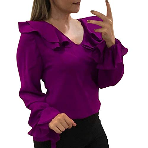 TOTOD Blouse Shirts Women Elegant Chiffon Tops Bow Splice Lace O-Neck Solid Jumper Casual Tunic T-Shirt(Z04-Purple,XXL)