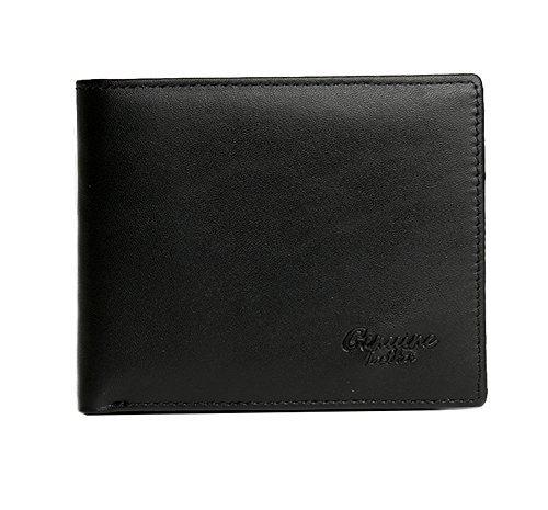 Genda 2Archer Mens Leather Bifold Wallet Cards Holder Purse (Black)