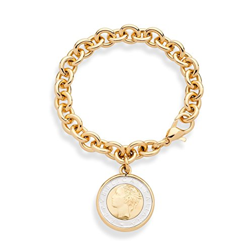 MiaBella 18K Gold Over Bronze Italian Genuine 500 Lira Coin Charm Dangle Rolo Link Bracelet for Women