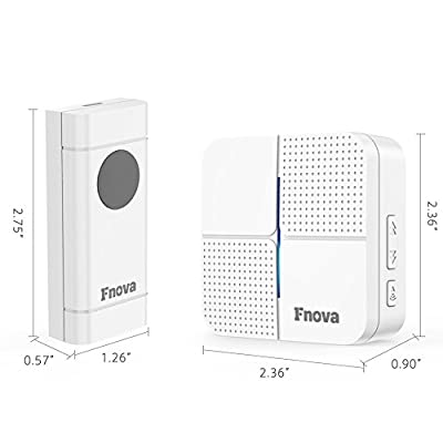 Wireless Doorbell, Fnova Waterproof Doorbell Kit Operating at 500-1000 ft with 1 Push Button and 1 Plugin Receiver, 52 Ringtones 4 Volumes, Doorbell Chime (White)