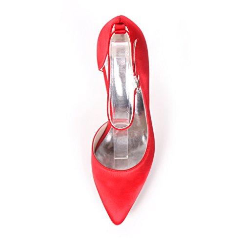 Frauen Pumpen 07B 0608 Kleid Schuhe Satin Ager Red Toe Kleid Heels Flower Closed Hochzeit AvqCxtnW5