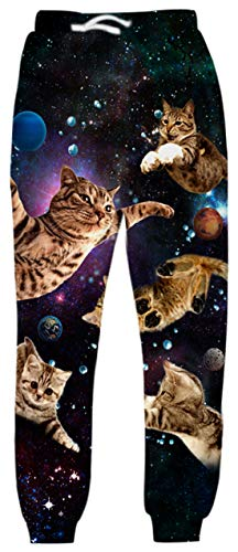 Belovecol Galaxy Cat Joggers Sweatpants for Mens Womens 3D Print Graphic Space Cat Active Sports Track Pants Gym Trousers M