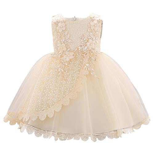 Baby Girl Dresses Newborn Baby Dresses Toddler Girl Special Occasion Dresses Baby Formal Dresses Lace Wedding Party Dress for Toddler Baby Girl(L1902XZ,Champagne,90)