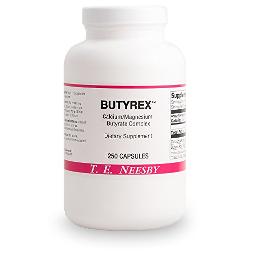 (T.E. Neesby Butyrex (Butyric Acid, Butyrate) A Calcium Magnesium Butyrate Complex 600mg 250 capsules )