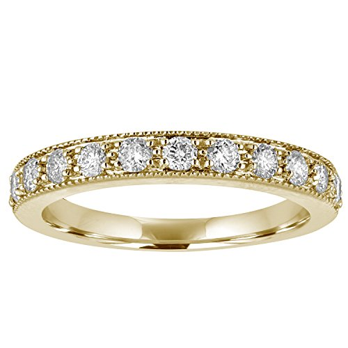 1/2 CT Milgrain Diamond Wedding Band in 14K Yellow Gold In Size 8 14k Yellow Gold Milgrain Band