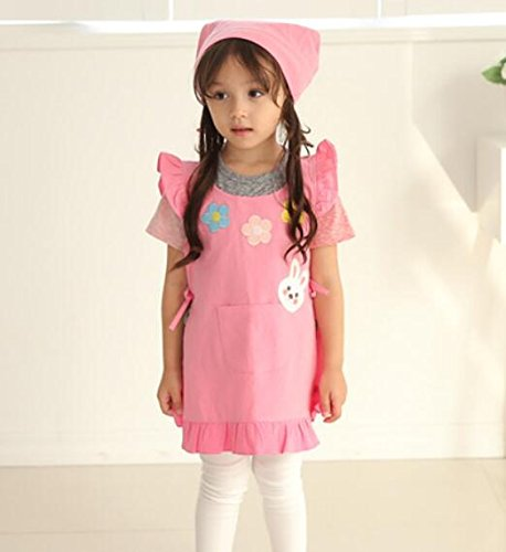 Very Attractive Fashion Children Apron Cotton Antifouling Apron for Girl_Pink Easyflower