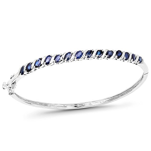 Huang and Co. 3.15 Carat Genuine Blue Sapphire Solid .925 Sterling Silver Bangle