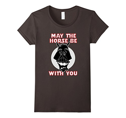 Women's 'May The Horse Be With You' Funny Tshirt Small Asphalt