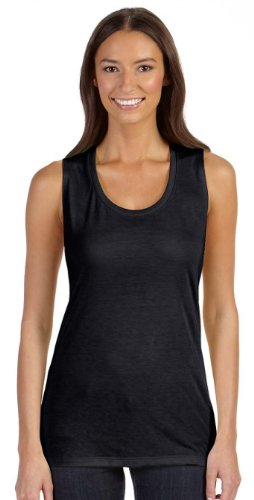 Bella + Canvas Ladies 'Flowy Scoop muscular camiseta >     negro B8803